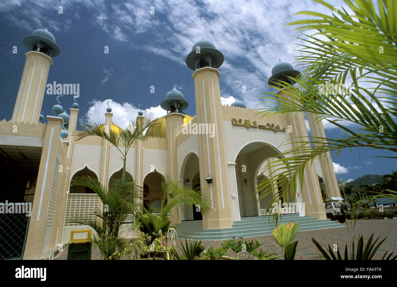 Al-Hana Mosque in Langkawi, Malaysia. Al-Hana Mosque is billed as the largest and most popular mosque in Langkawi. - Stock Image