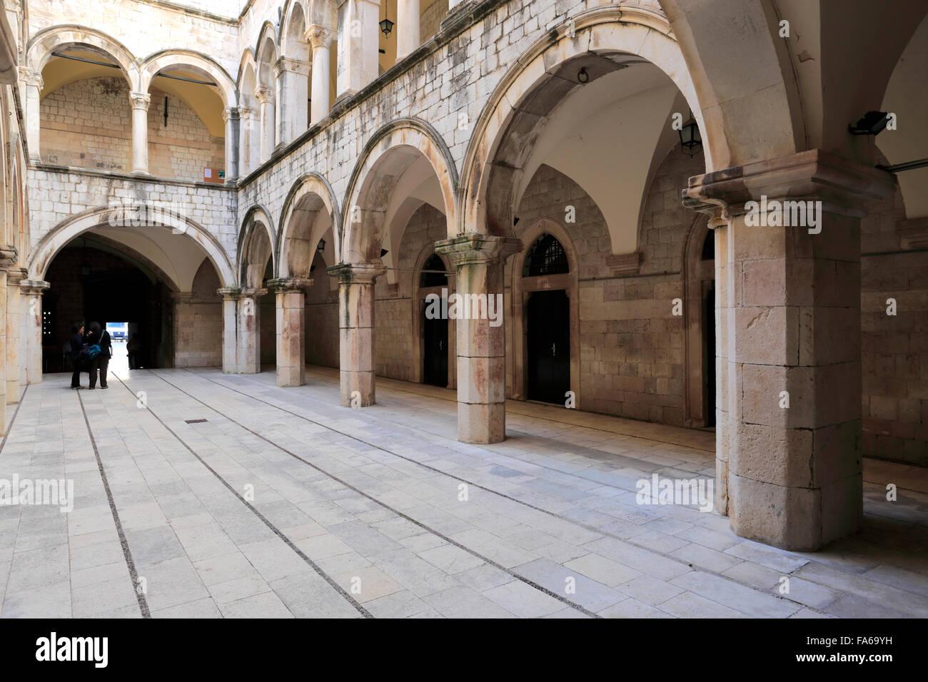 The Memorial Rooms in the Sponza palace, Main Street of Dubrovnik, Dubrovnik-Neretva County, Dalmatian coast, Adriatic - Stock Image