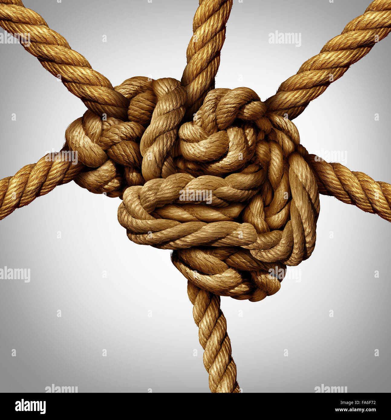 Creative process concept and creativity and the brain as a group of tangled ropes shaped as the human mind with - Stock Image