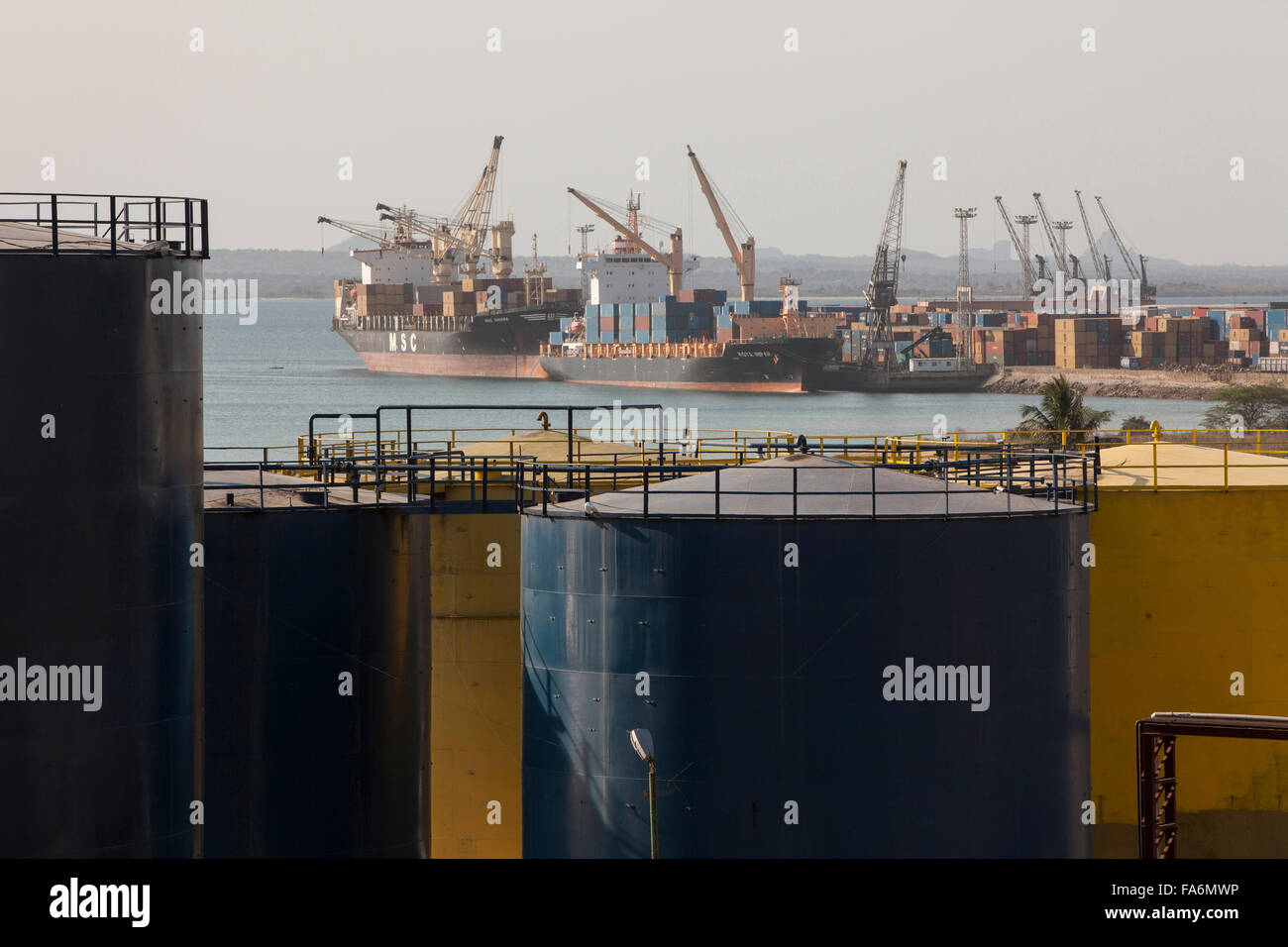 Ships dock at the port of Nacala in Northeastern Mozambique. - Stock Image