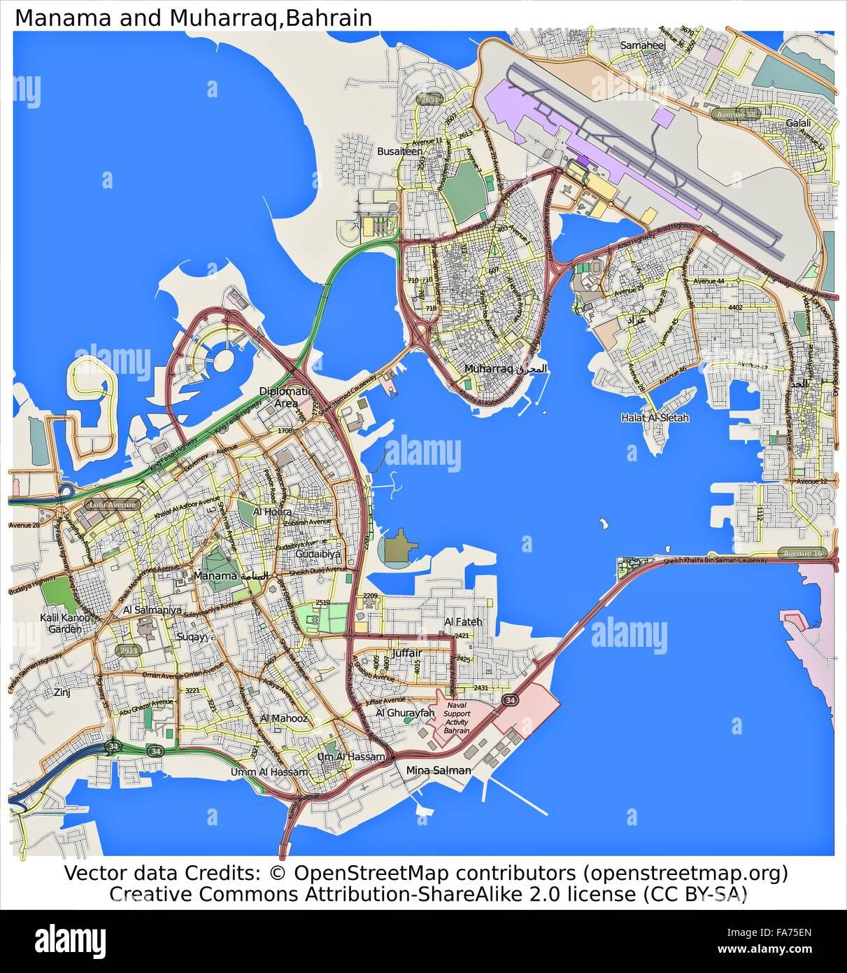 Manama Muharraq Bahrain location map Stock Photo 92356397 Alamy