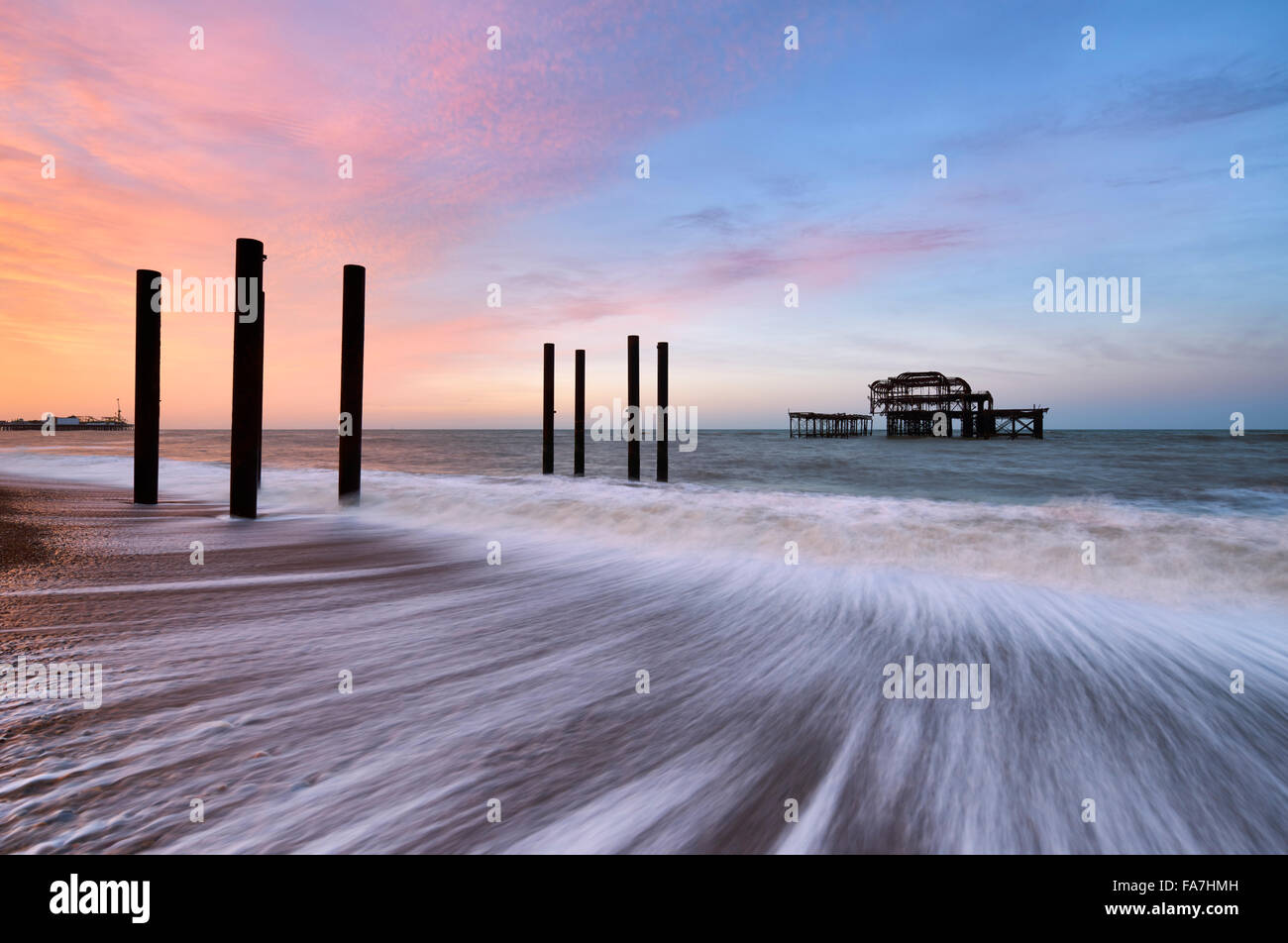 The remains of Brighton's west pier - Stock Image