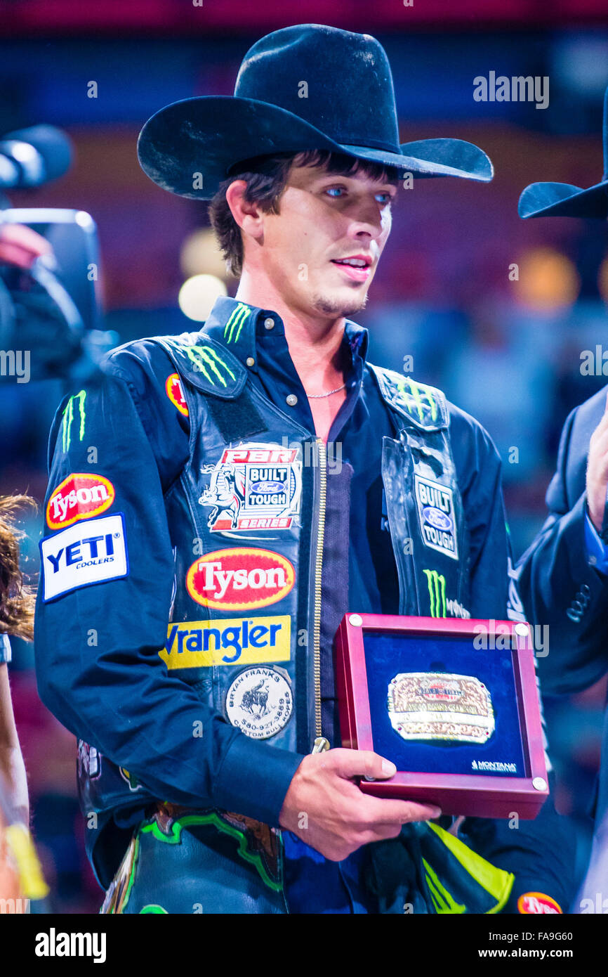 J.B. Mauney Being interviewed on stage after winning the PBR bull riding  world finals. 5820d7dcfc4