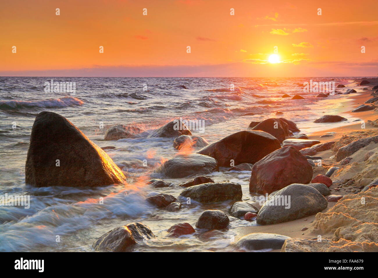 Sunset at Baltic Sea, Pomerania, Poland - Stock Image