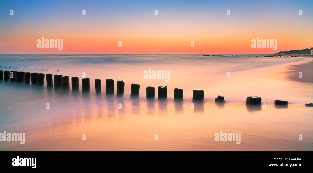 The Baltic sea after sunset, Pomerania, Poland - Stock Image