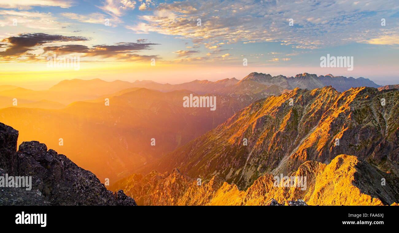 View at high Tatras from Krywan peak, Slovakia - Stock Image