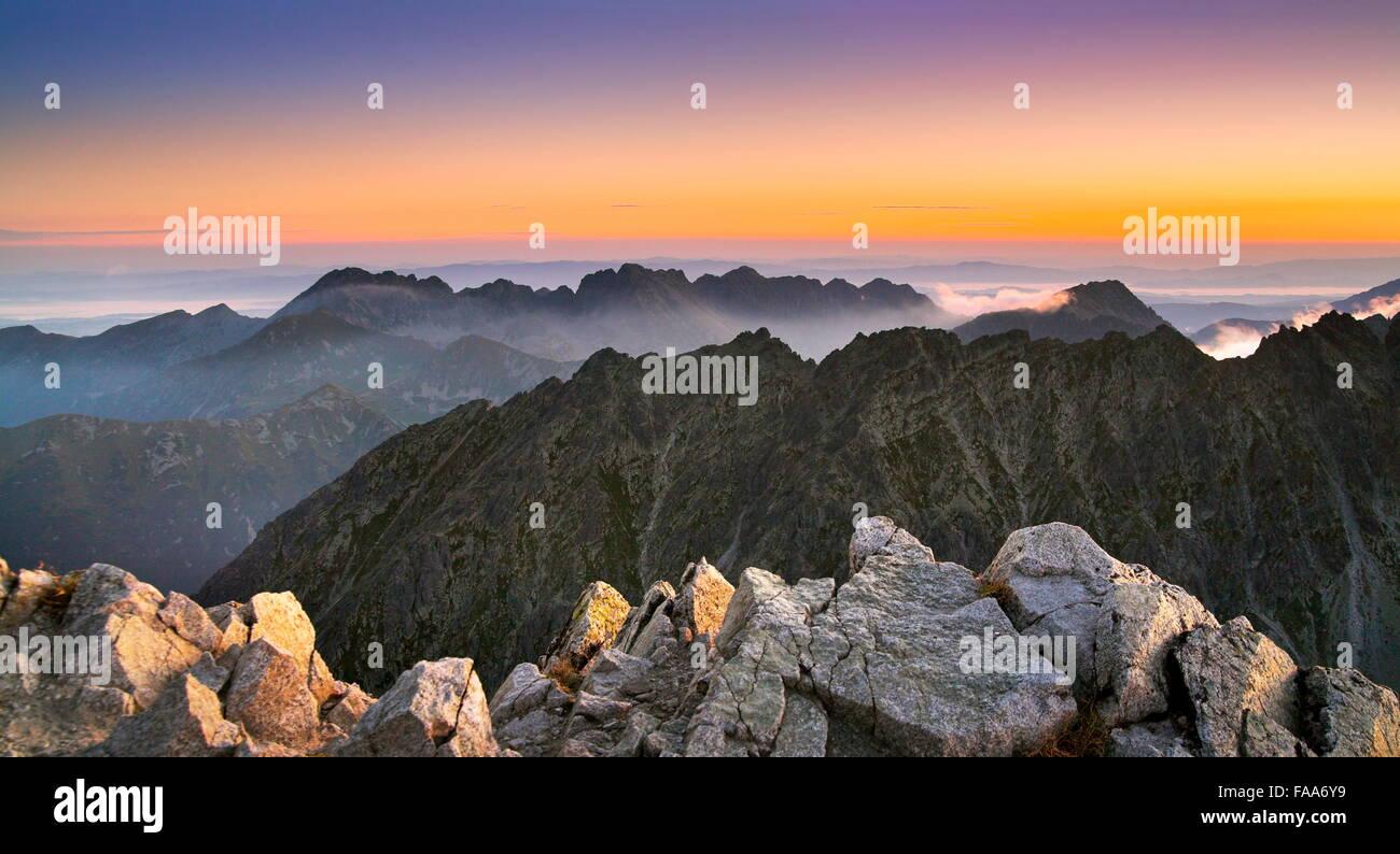 View at surise from Krywan peak, Slovakia - Stock Image