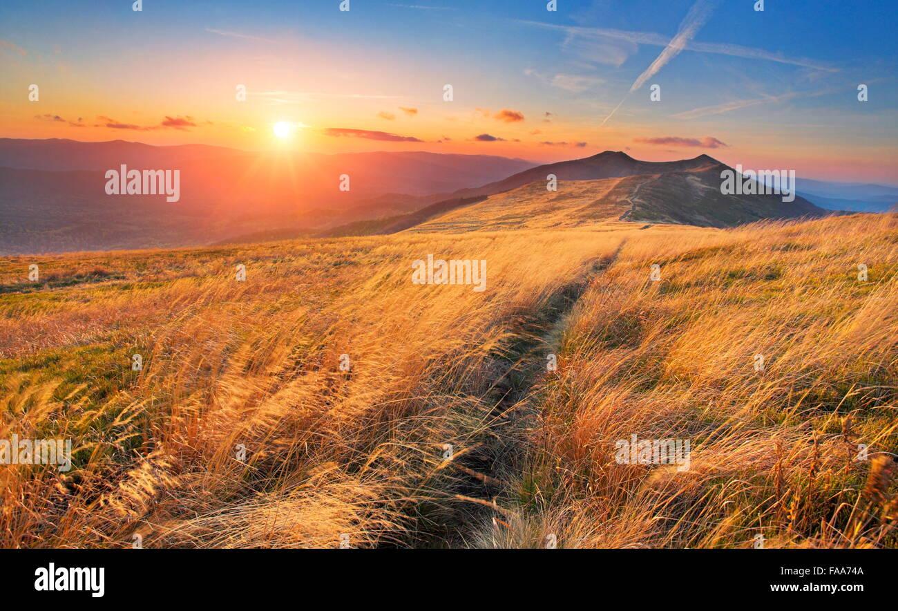 Sunset at Bieszczady Mountains, Poland - Stock Image