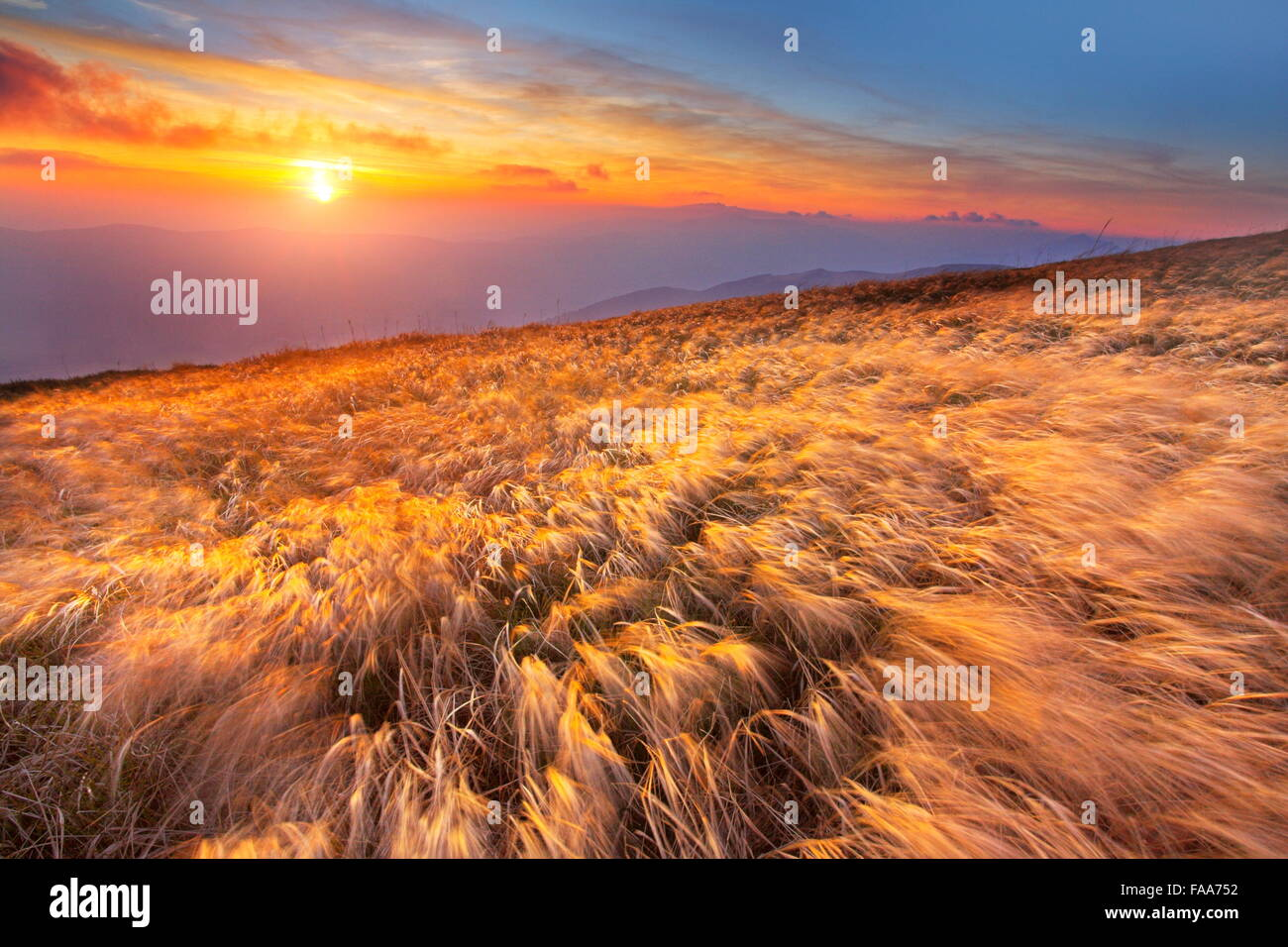 The sunset in Bieszczady Mountains, Poland - Stock Image