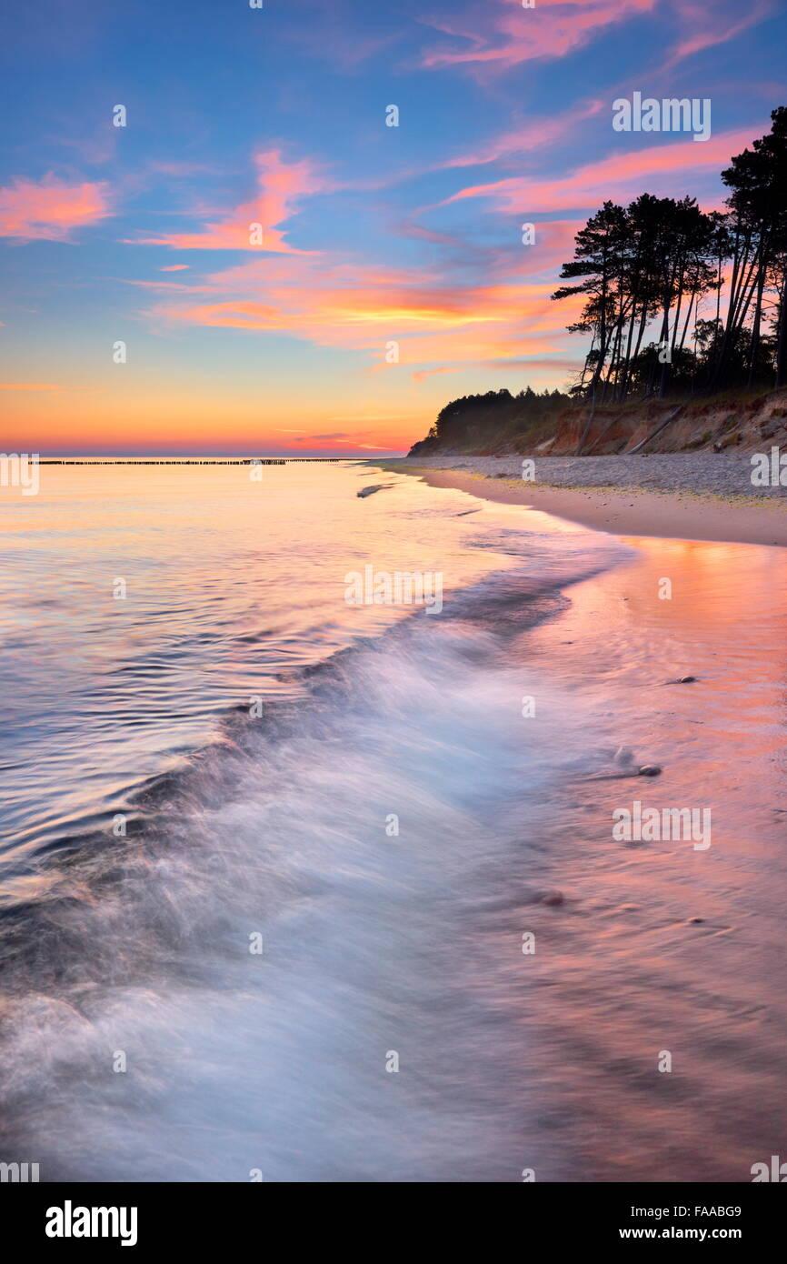 Sunset landscape at the Baltic Sea, Pomerania, Poland - Stock Image