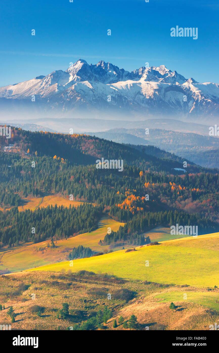 Tatra Mountains - view from Pieniny region, Poland - Stock Image