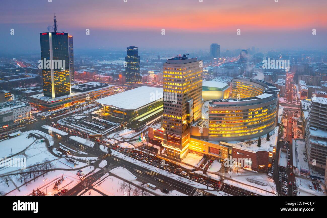 Warsaw modern skyline, Poland - Stock Image