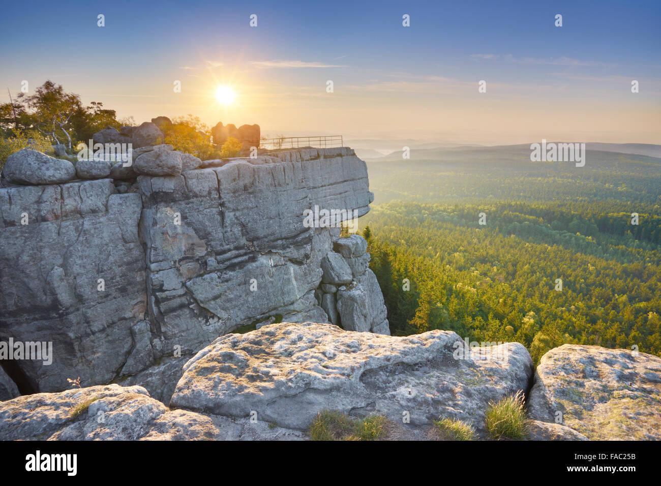 Szczeliniec Wielki National Park at sunset - Table Mountains, Poland - Stock Image