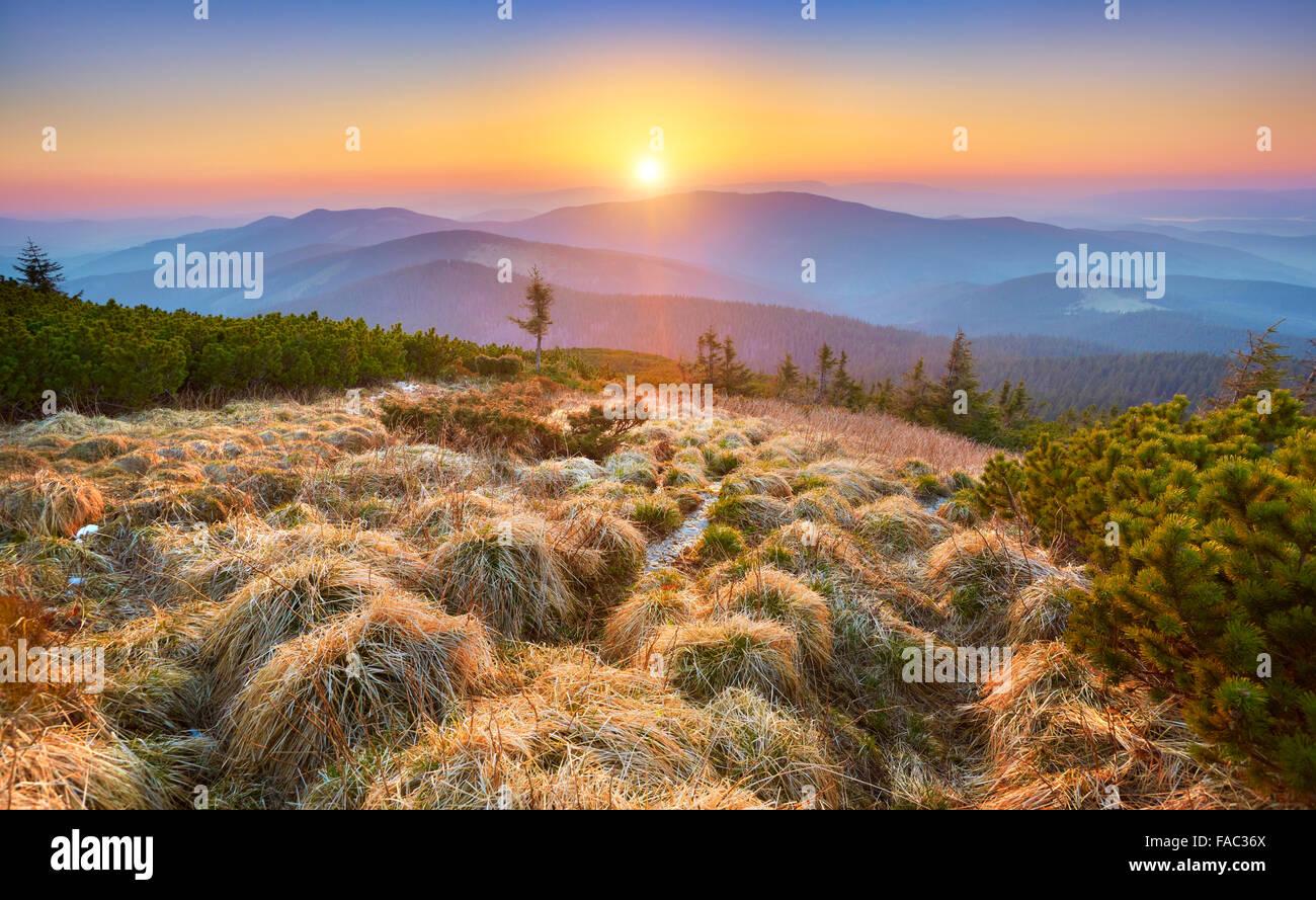 Beskidy Mountains, sunset at the Pilsko Peak, Poland - Stock Image