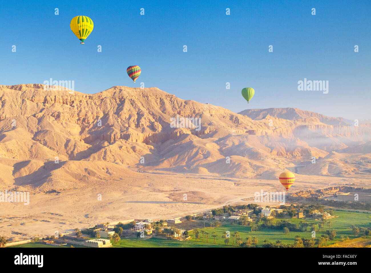 Egypt - balloon flights over the west bank of the Nile, landscape of mountains and green valley - Stock Image
