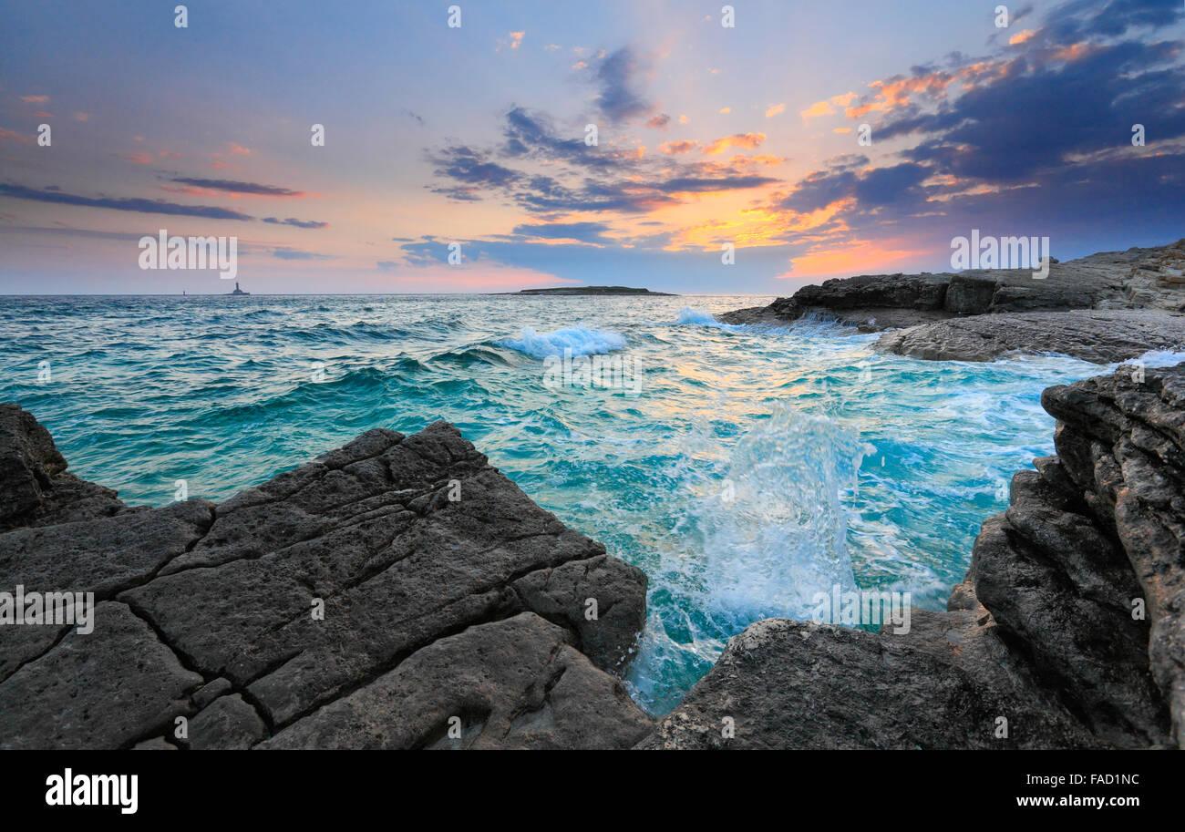 Sunset in Istria. Rt kamenjak, Premantura. - Stock Image