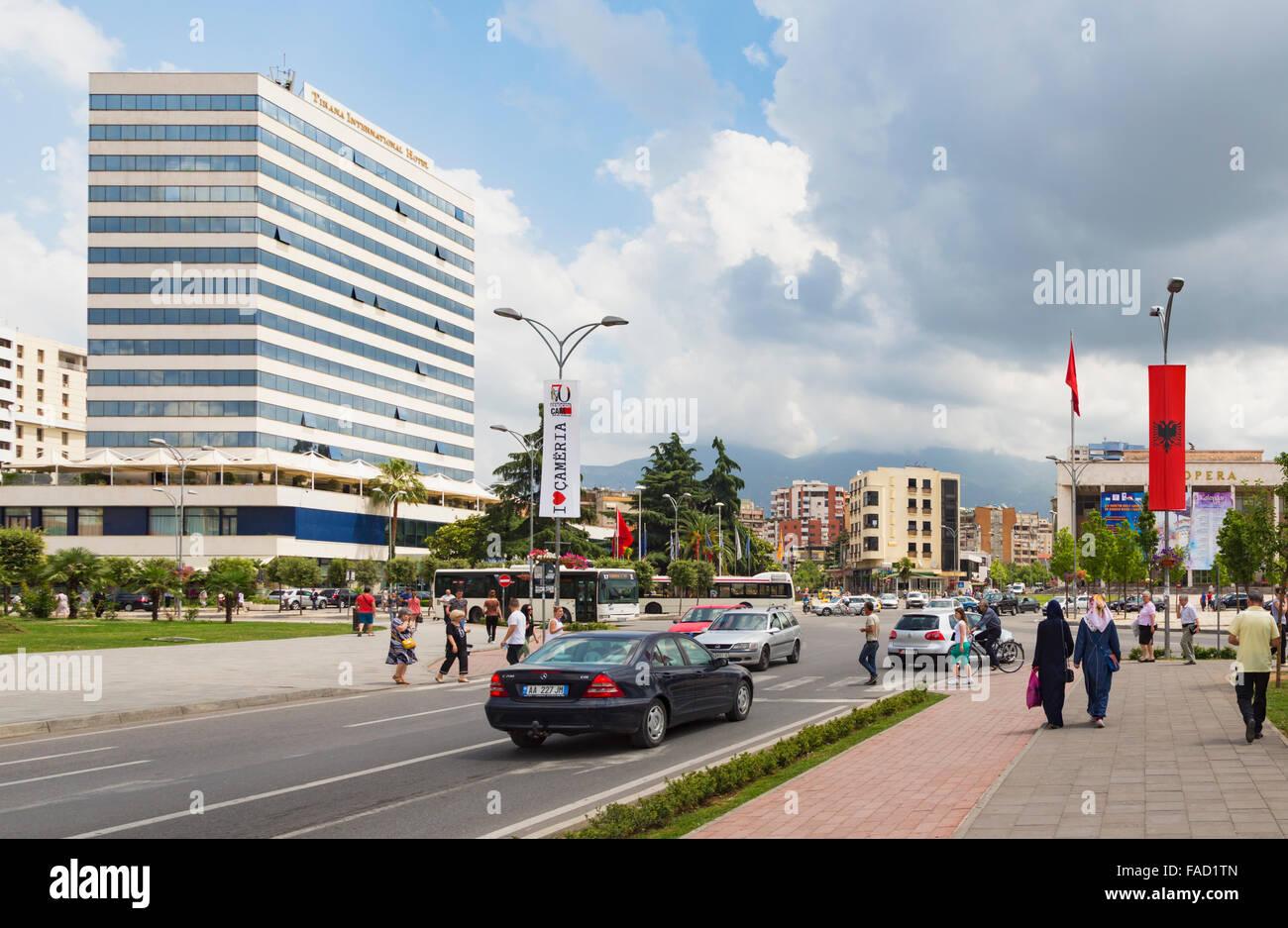 Tirana, Albania.  Rruga e Durresit, or Durrës Street.  One of the capital's main thoroughfares. - Stock Image