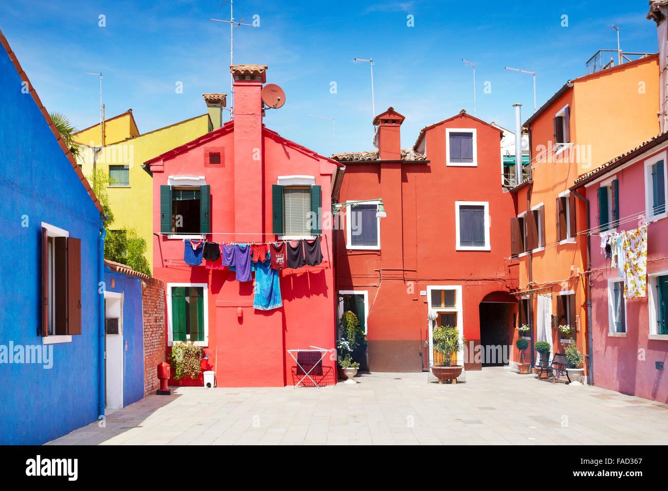 Characteristic colourful houses in village of Burano near Venice in Italy (Burano Lagoon Island), UNESCO - Stock Image