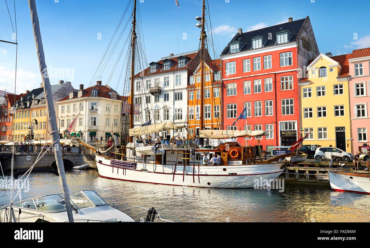 Copenhagen old town, Denmark - the ships moored in Nyhavn Canal - Stock Image