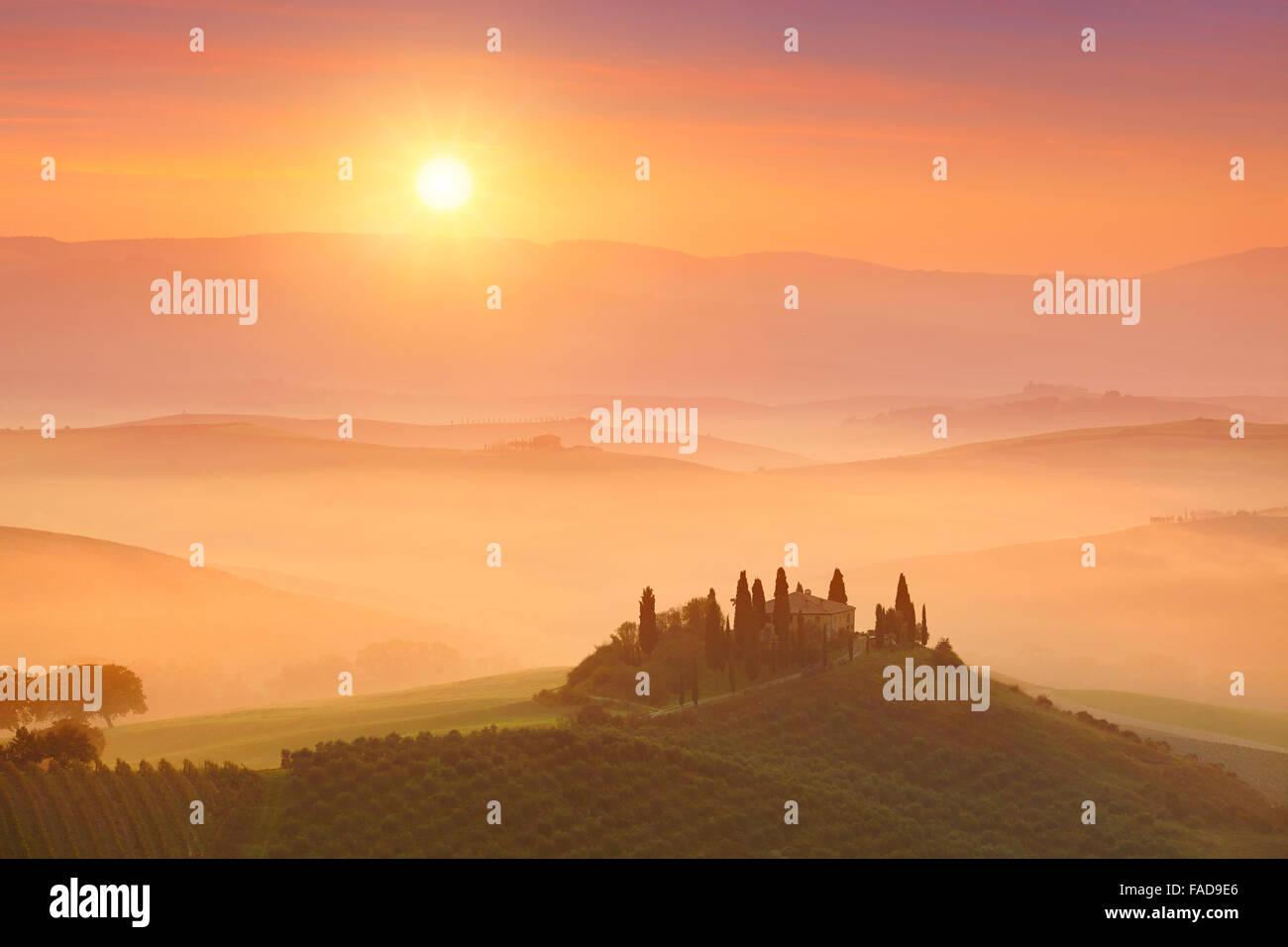 Landscapes of Tuscany sunrise, Val d'orcia,  Italy - Stock Image