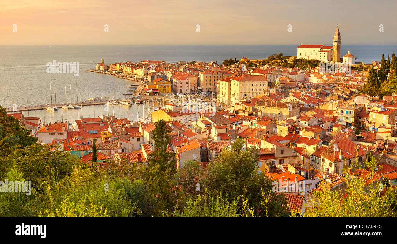 Old city Piran, Slovenia - Stock Image