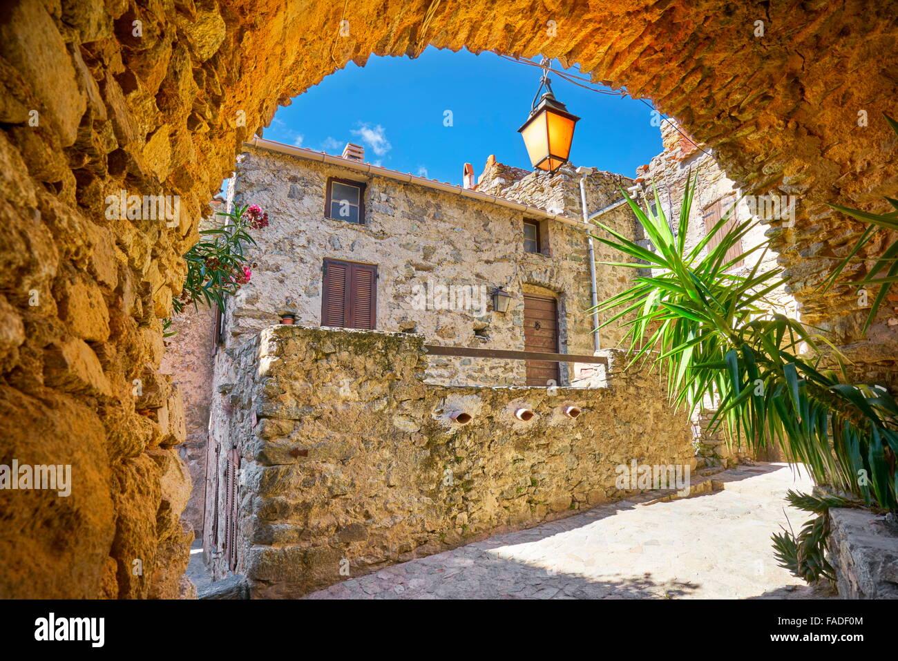Small mountain village Lama, Balagne, Corsica Island, France - Stock Image