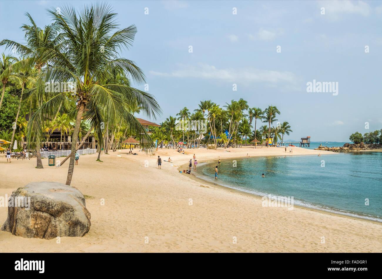 Siloso Beach on Sentosa Island, Singapore   Siloso Beach auf der Insel Sentosa, Singapur - Stock Image