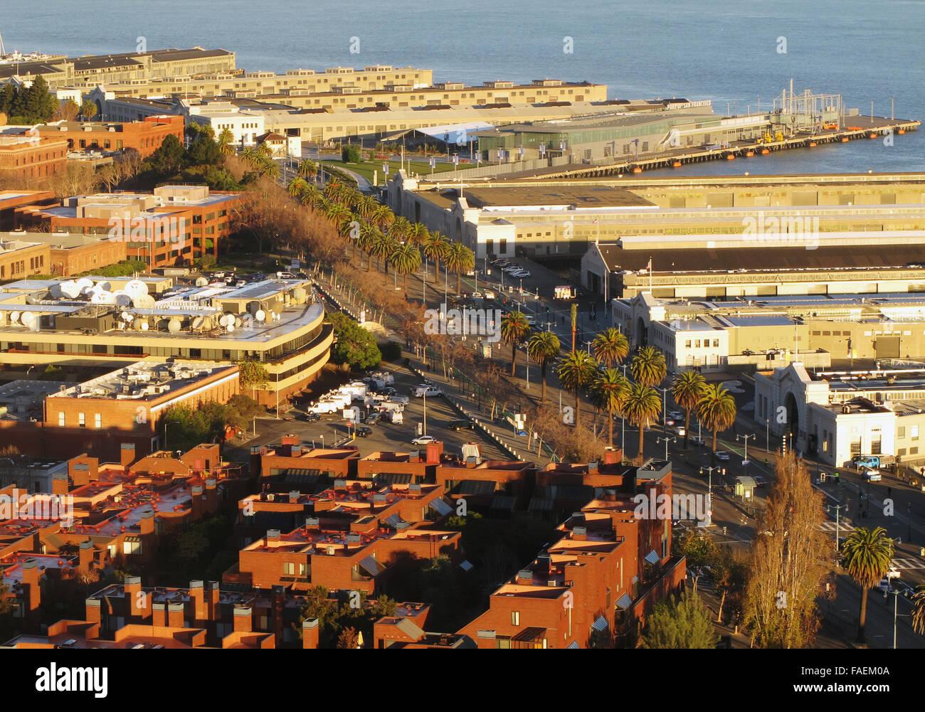 aerial photograph Embarcadero, Piers, North Beach, San Francisco, California - Stock Image