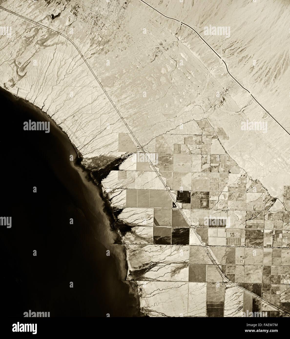 historical infrared aerial photograph of Salton Sea, California,1954 - Stock Image