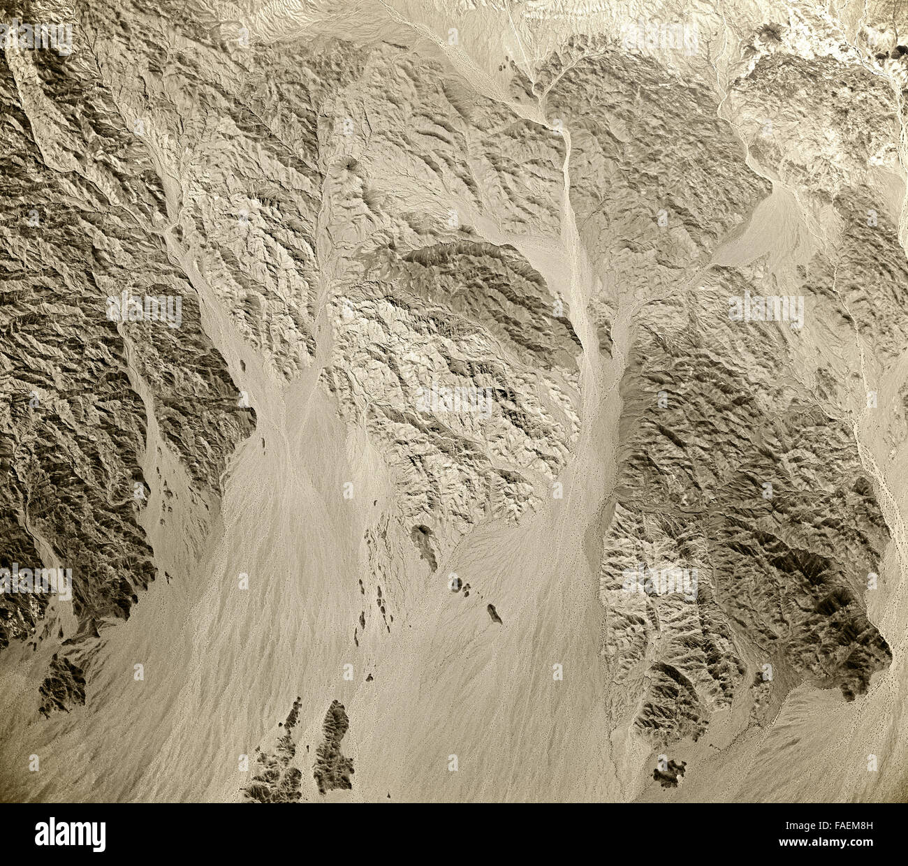 historical aerial photograph of desert and mountains east of Salton Sea, California, 1954 - Stock Image