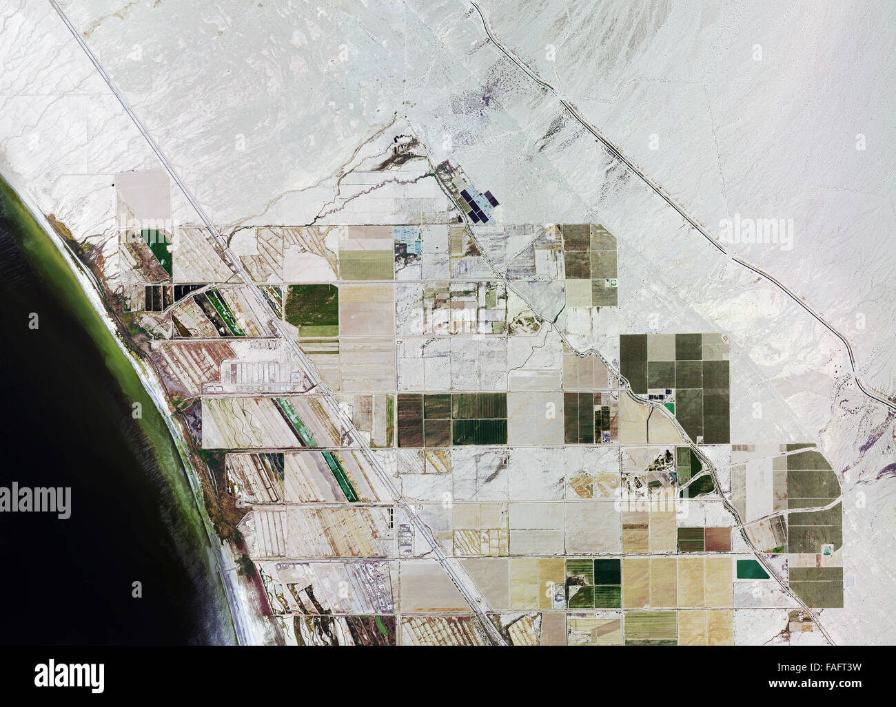historical aerial photograph of Salton Sea, Niland, Imperial County, California - Stock Image