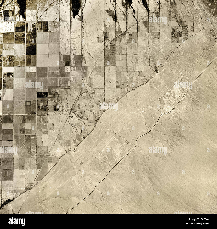historical aerial photograph of Salton Sea, Imperial County, California, 1947 - Stock Image