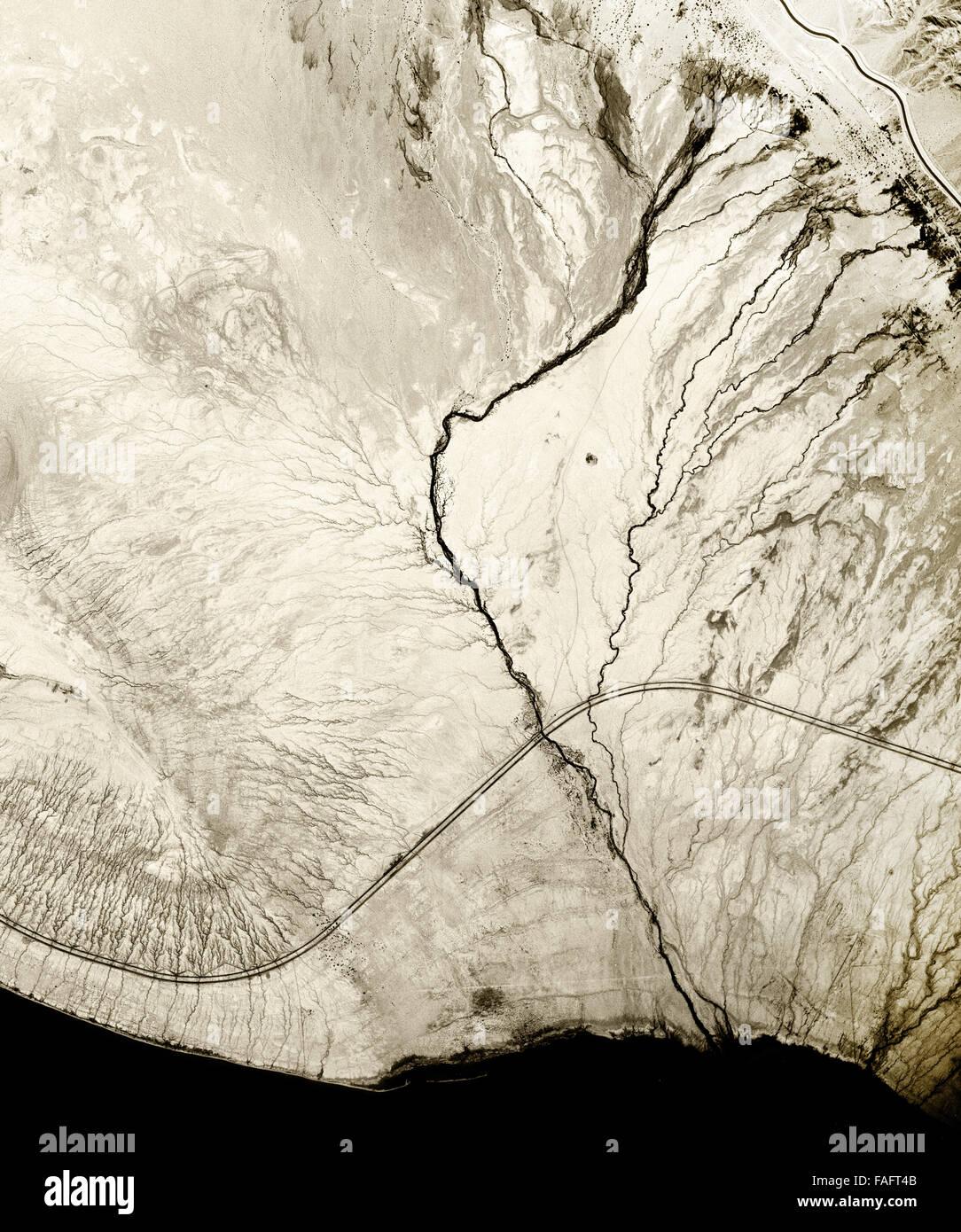 historical aerial photograph of Salton Sea, Imperial County, California, 1954 - Stock Image