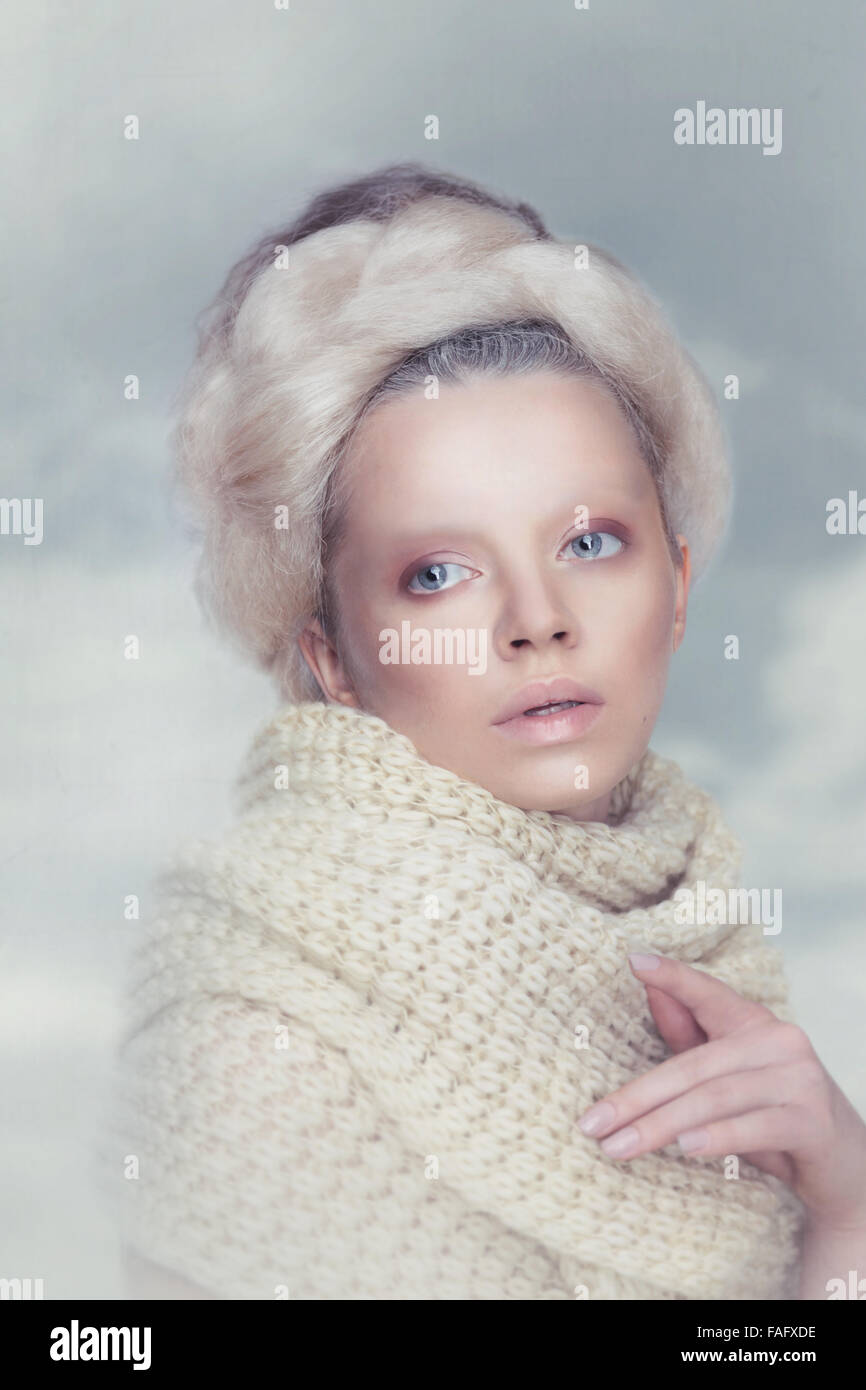 Romantic woman beauty with in clouds. - Stock Image