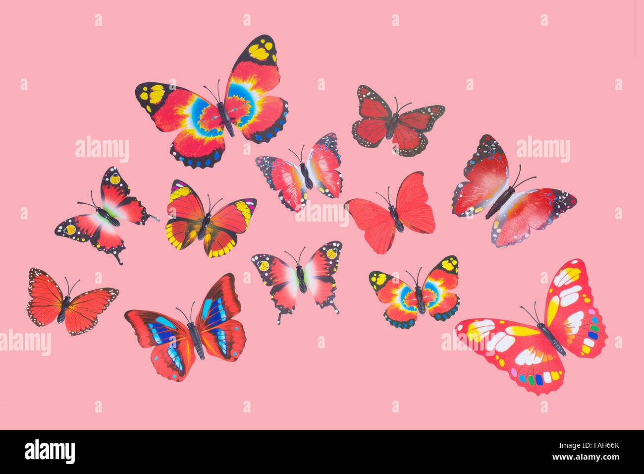 Collection of Red Fantasy Butterflies Clip Art - Stock Image