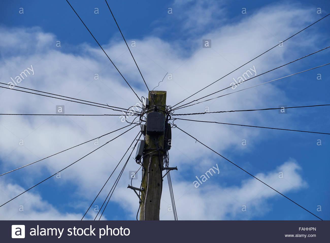 Swainby Telegraph poleStock Photo