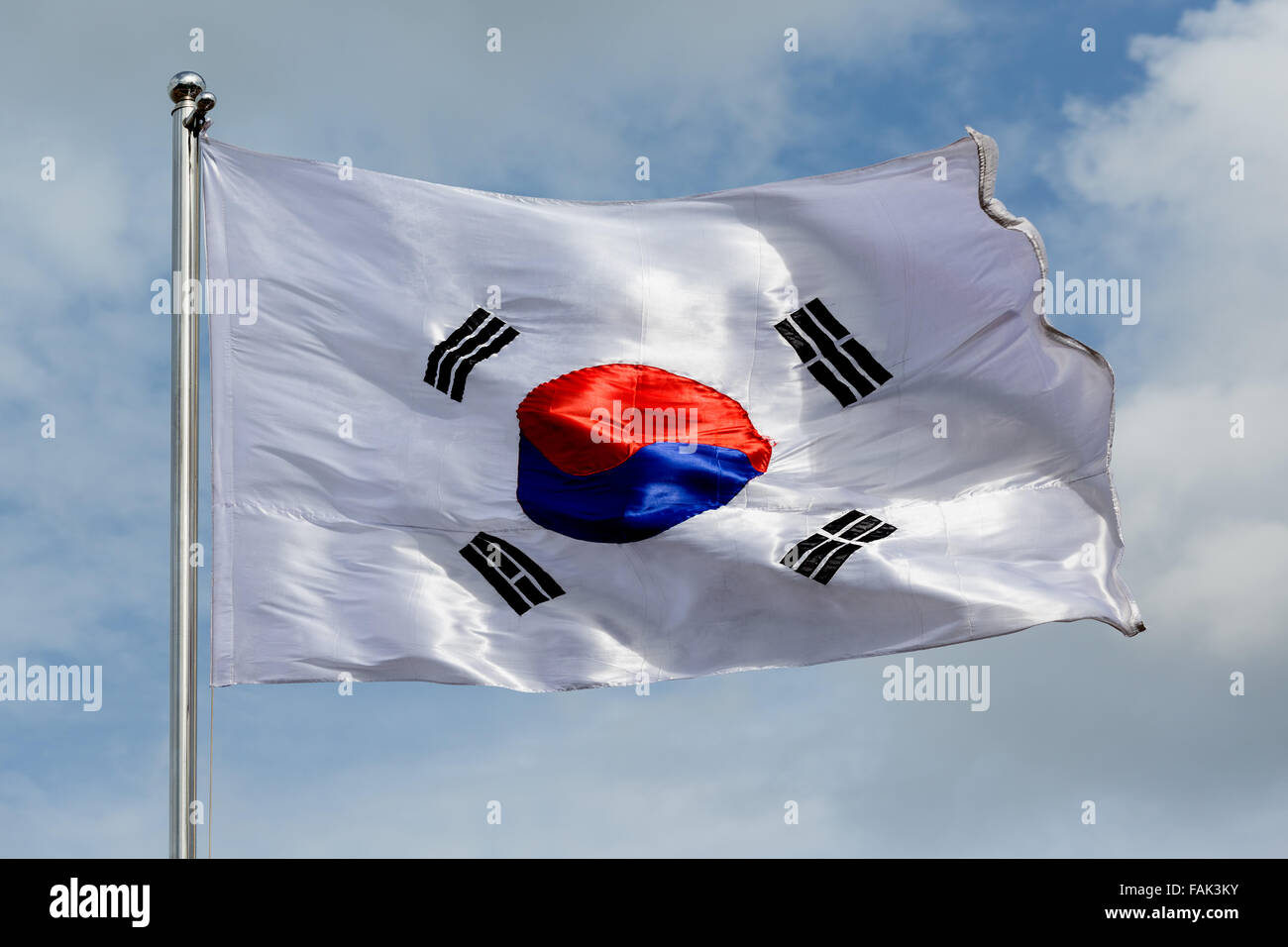 South Korea Flag blowing in the wind, Korea - Stock Image
