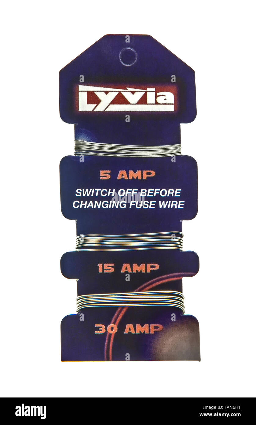Card of Lyvia Fuse Wire on a white background - Stock Image