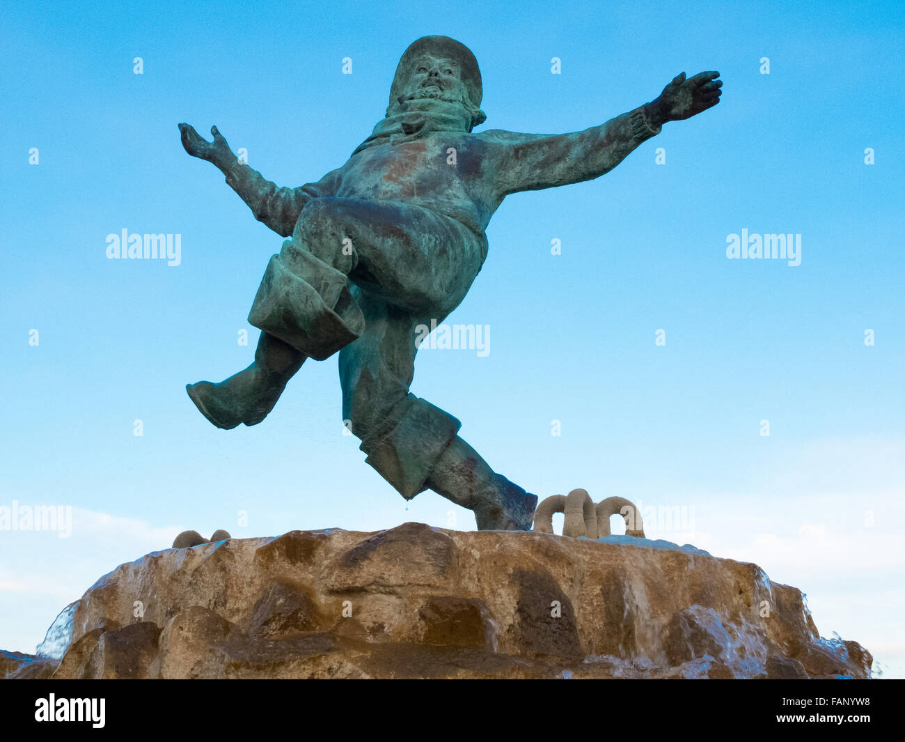 The Jolly Fisherman statue in Compass Gardens,Tower Gardens near the sea front in Skegness. - Stock Image