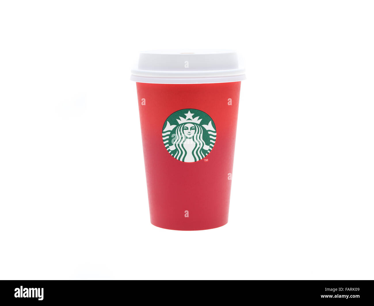 Starbucks Christmas 2015 red disposable coffee cup Stock Photo ...
