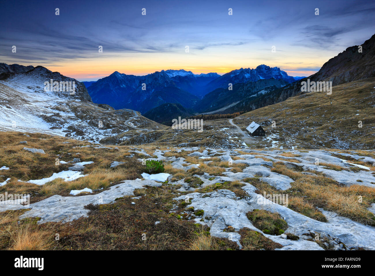 Mountains sunset landscape.Julian alps Slovenia and Italy. - Stock Image
