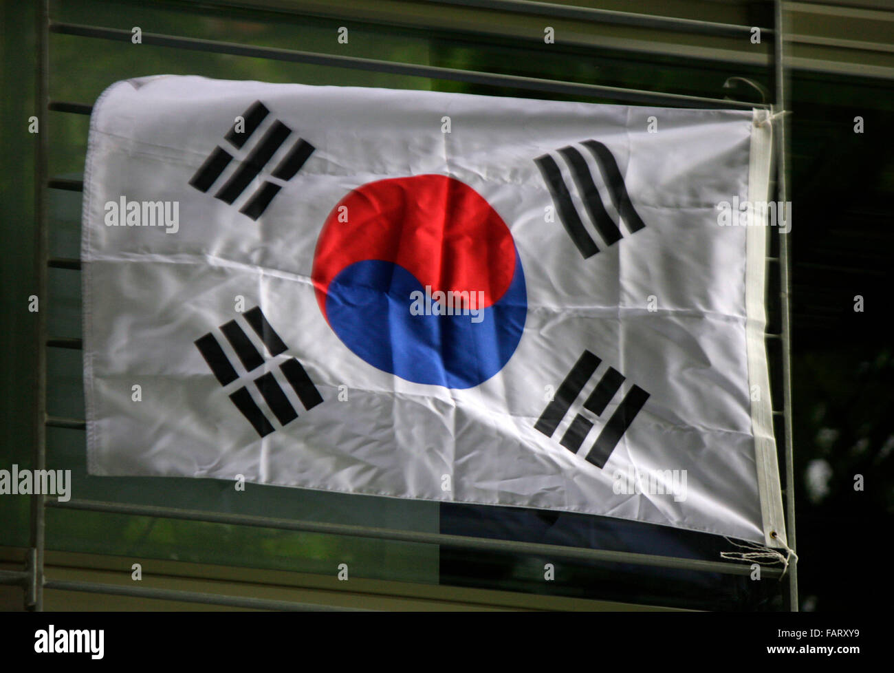 suedkoreanische Fahne, Berlin. The flag of South Korea - Stock Image