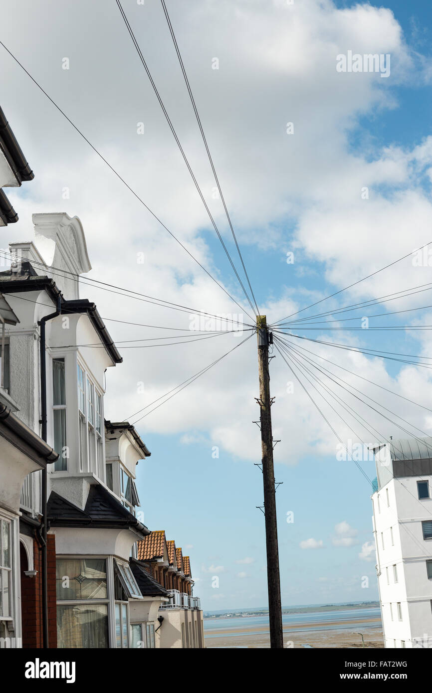 Southend on sea - An street leading to sea front and telephone cable ...
