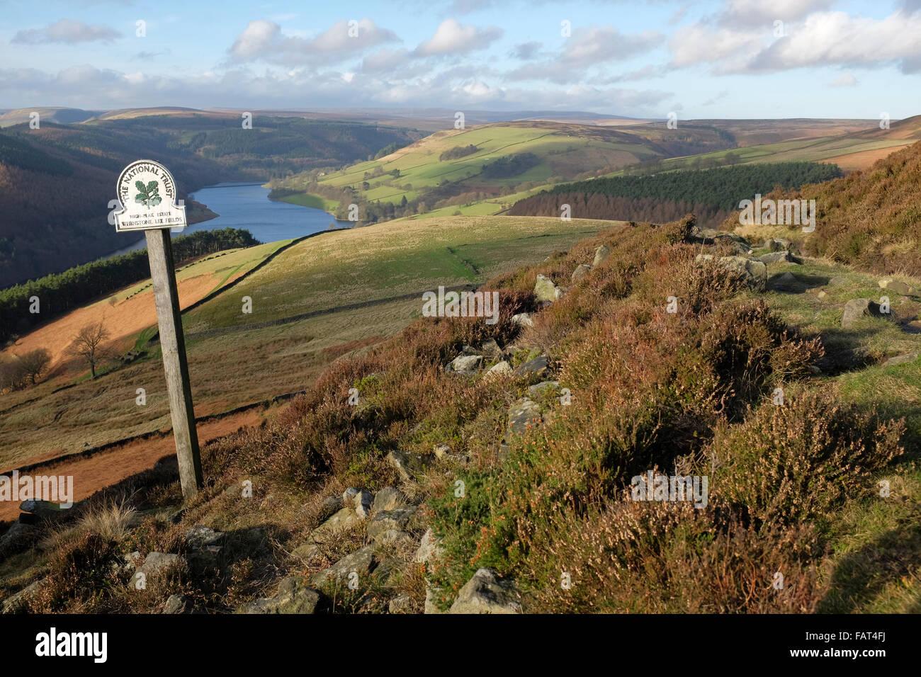 National Trust sign, High Peak Estate, Whinstone Lee Fields, Peak District National Park, Derbyshire, England, UK Stock Photo