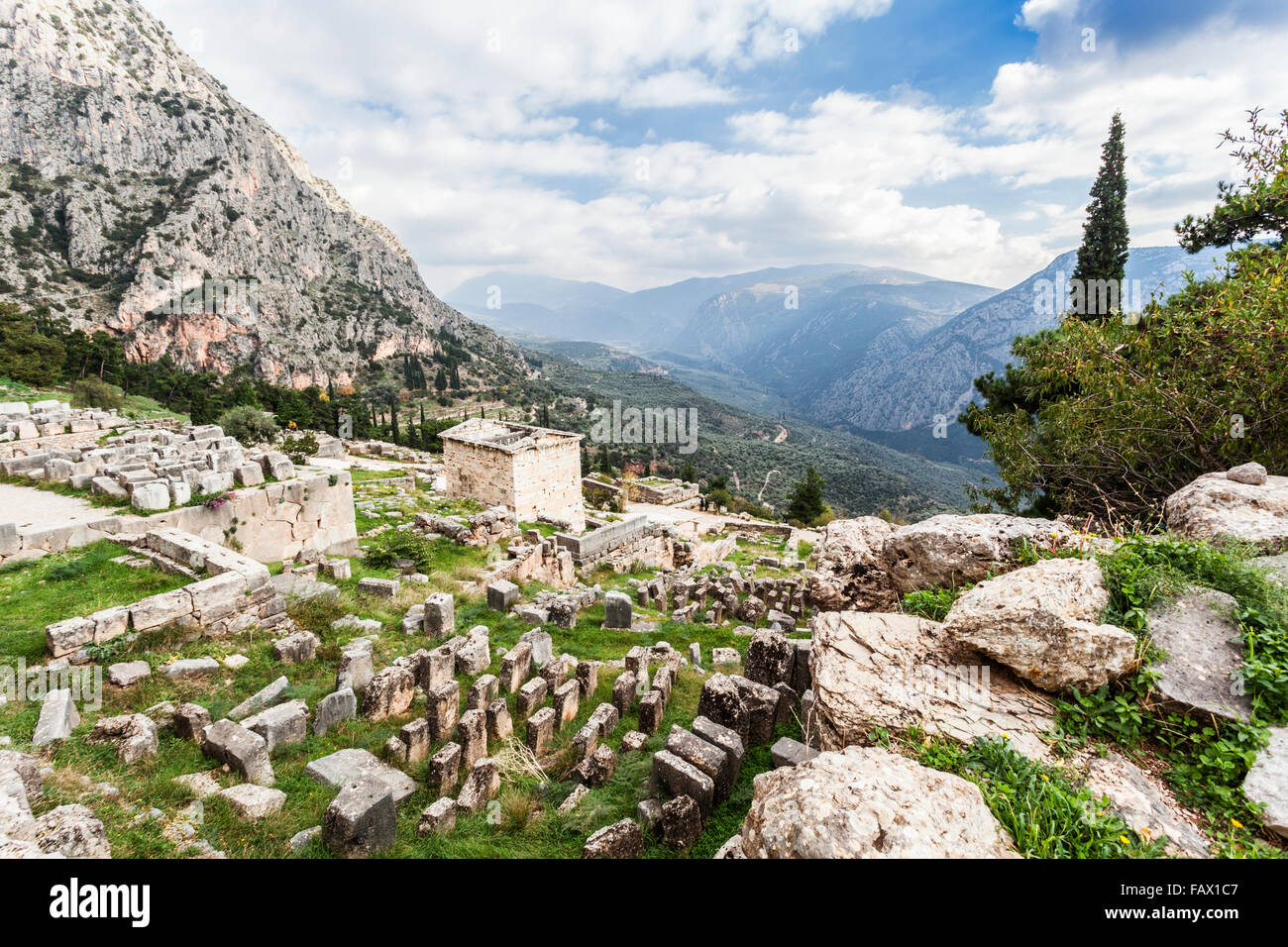 Treasury of Athenians; Delphi, Greece Stock Photo