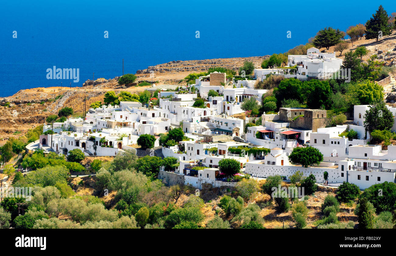 Lindos town, Rhods Island, Greece - Stock Image