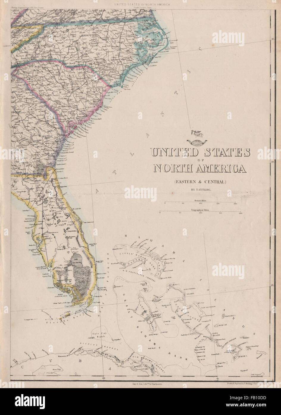 USA SOUTH EAST. Florida Georgia Carolina coast Bahamas ...