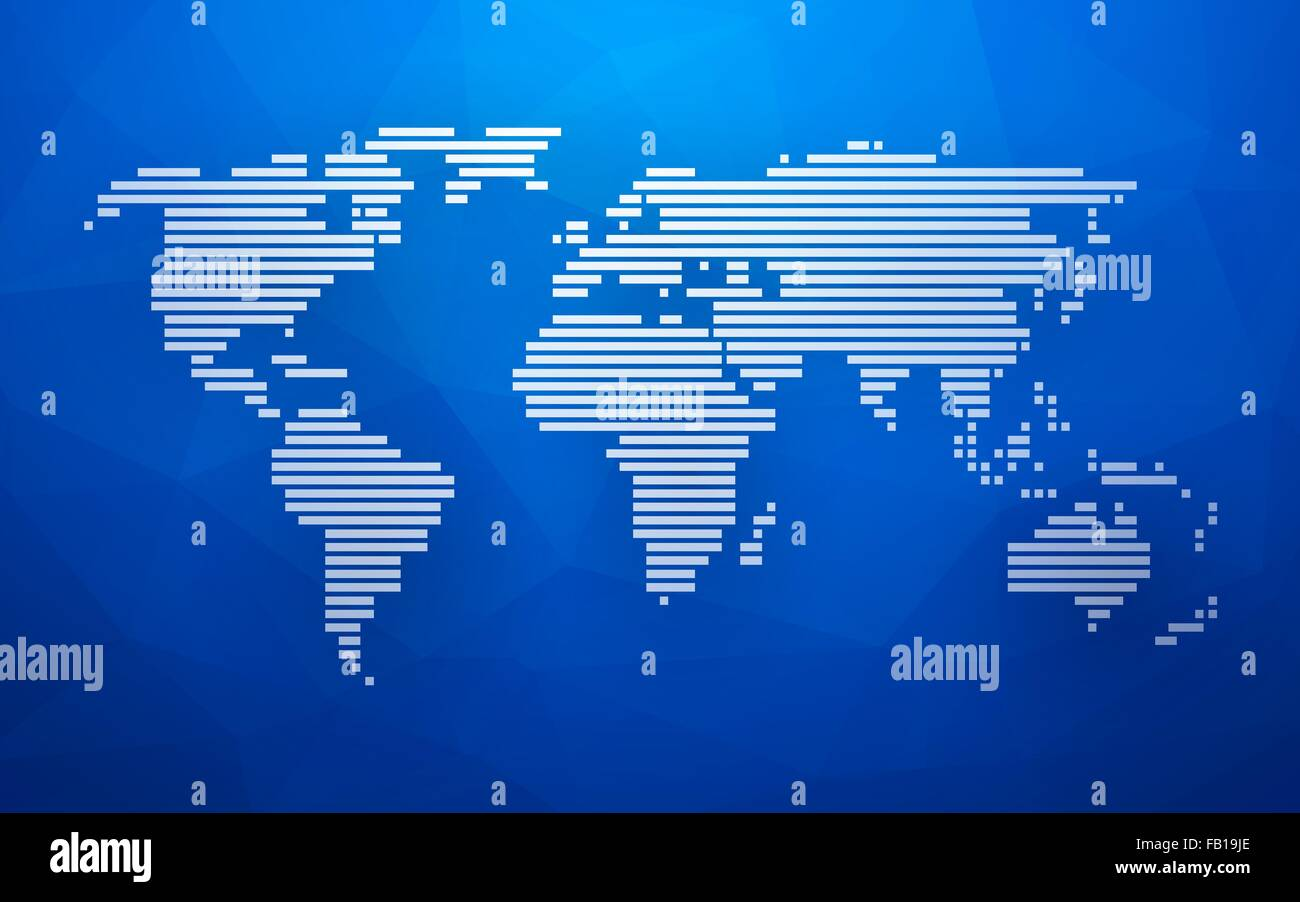 Simple world map made up of white stripes on a blue background stock simple world map made up of white stripes on a blue background triangular gumiabroncs Image collections