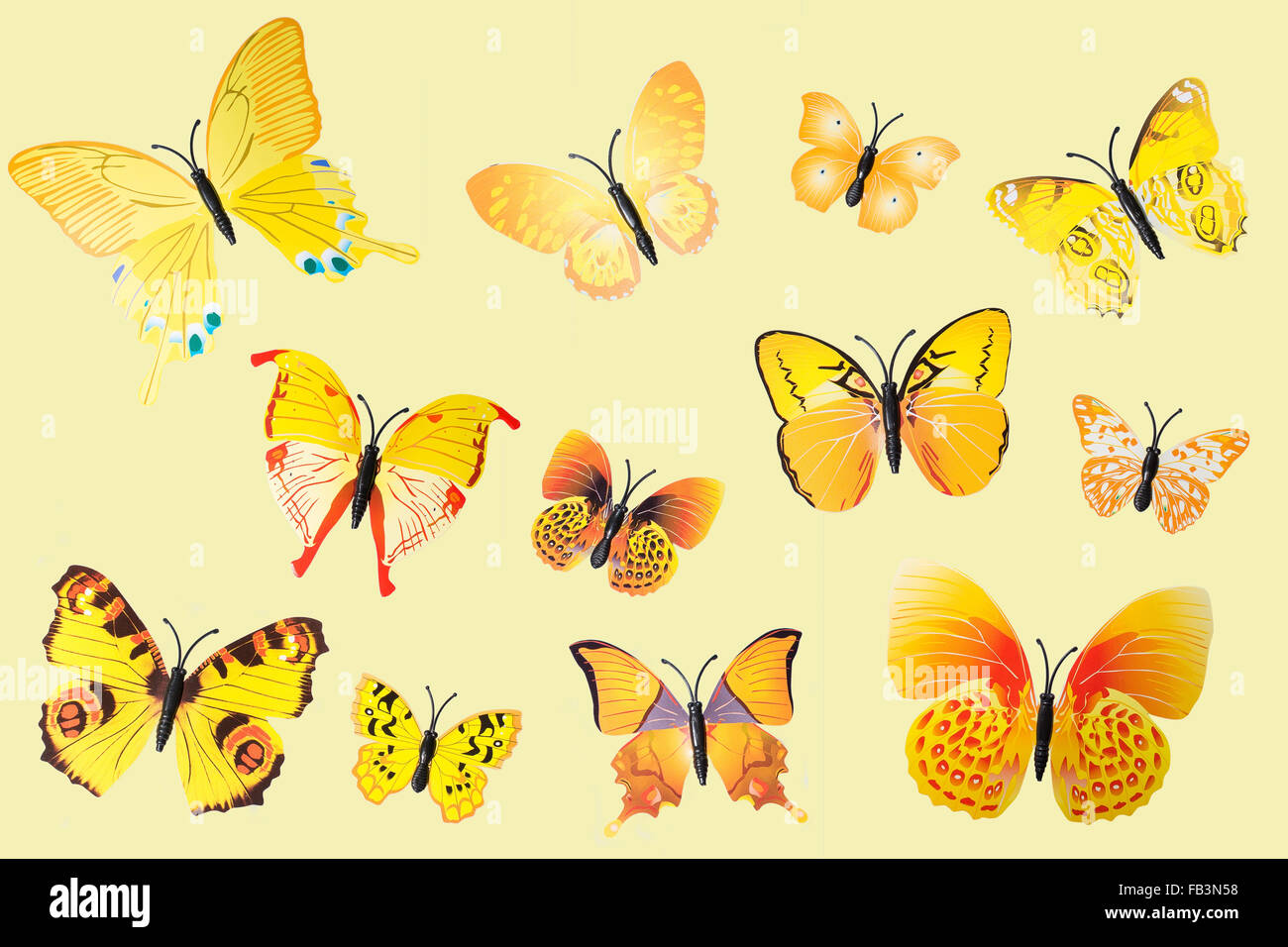 Collection of Yellow Fantasy Butterflies Clip Art - Stock Image