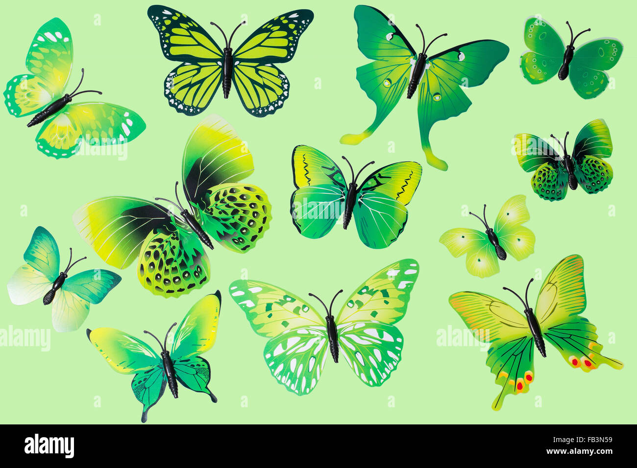 Collection of Green Fantasy Butterflies Clip Art - Stock Image